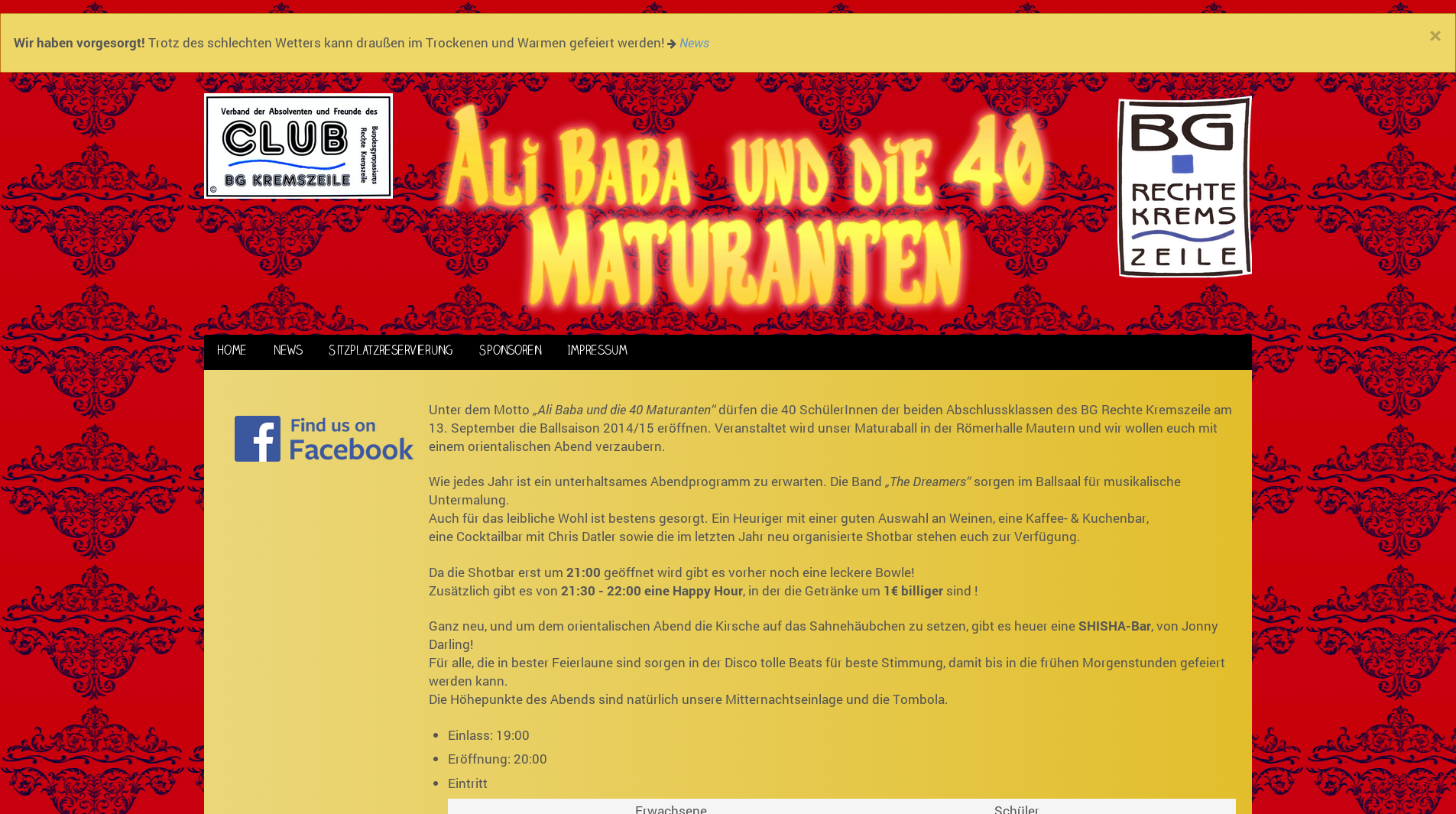 Screenshot von maturaball2014.kremszeile.at