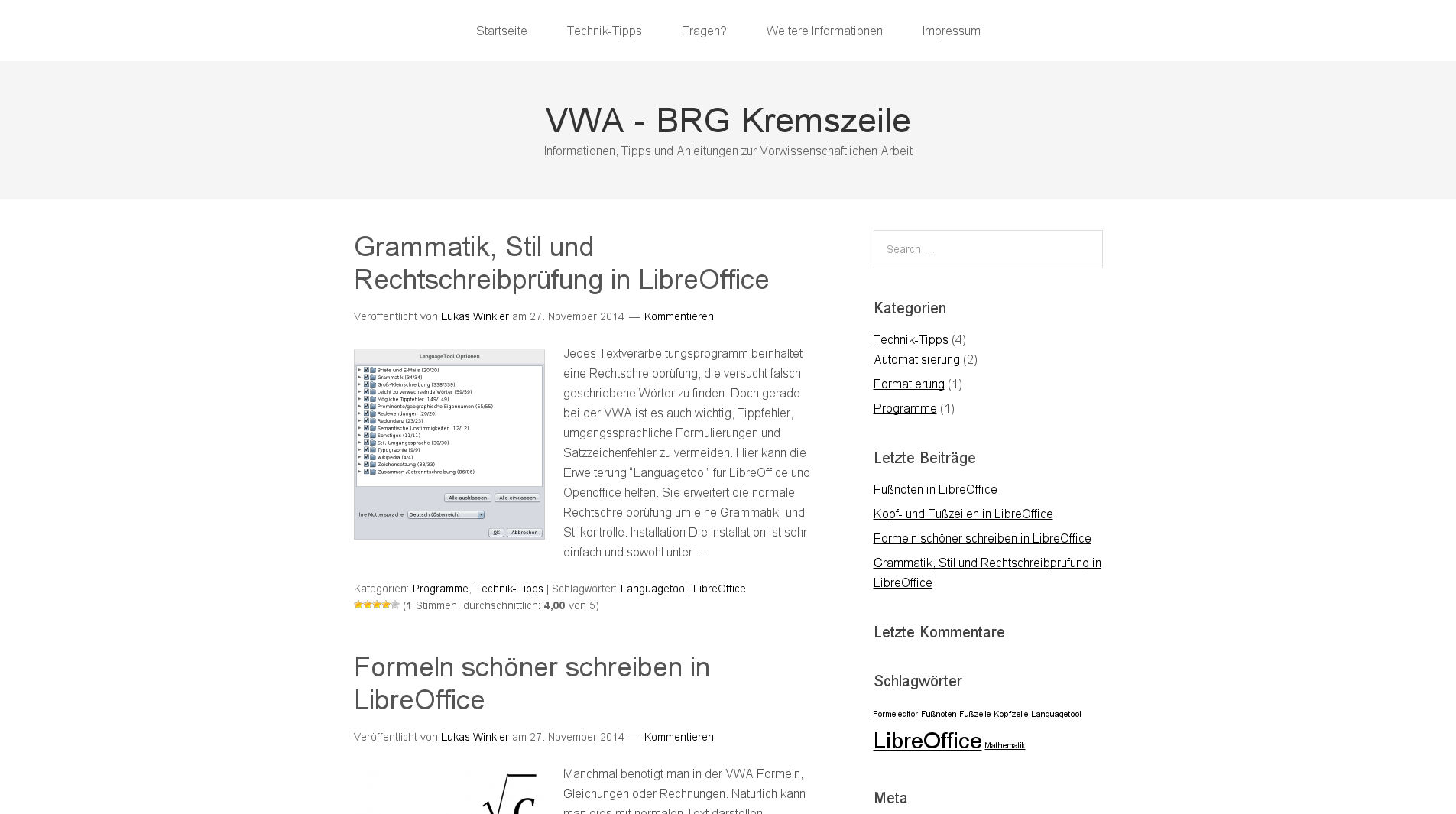 Screenshot von vwa.kremszeile.at